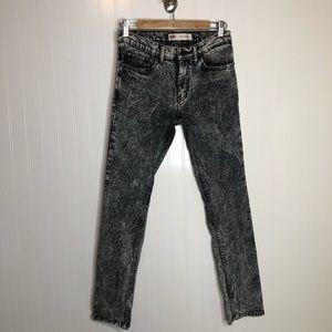 Levi's 510 Black Acid Wash Skinny Jeans 16/28x28
